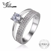 JewelryPalace 0.9ct Cubic Zirconia Anniversary Wedding Band Engagement Ring Set Guard Enhancer Pure 925 Sterling Silver Jewelry