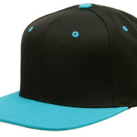 Original Yupoong Two-Tone Pro-Style Wool Blend Snapback Snap Back Blank Hat Baseball Cap 6098MT Black / Teal OSFA