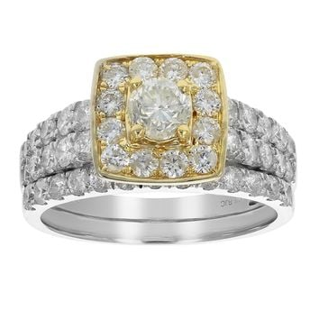 0.47 Carats 2.00 cttw Diamond Wedding Engagement Ring Set 14K Two Tone Gold