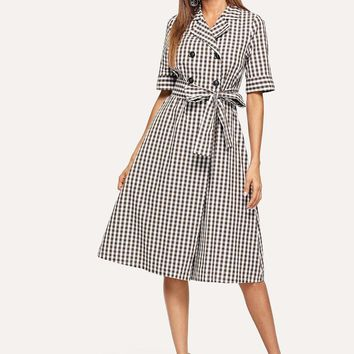 Notch Collar Double Breasted Placket Wrap Plaid Dress