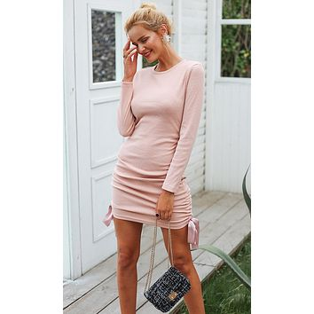 Don't Sweat It Long Sleeve Ribbed Crew Neck Ruched Bow Bodycon Casual Sweater Mini Dress