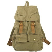 Berchirly Mens Womens Rucksack Canvas Backpack School Bag Camping Genuine Leather Straps