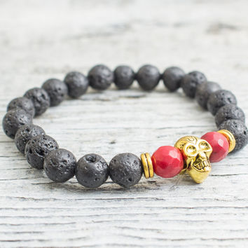 Black lava stone and faceted red coral beaded gold Skul stretchy bracelet, made to order yoga bracelet, mens bracelet, womens bracelet