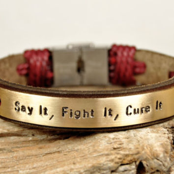 FREE SHIPPING - Men's Personalized Bracelet, Leather Men Bracelet, Men's Leather Bracelet, Brown Leather, Dark Blue Yarn, Brass Plate