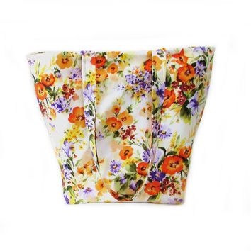 Floral Tote Bag, Cloth Purse, Handmade Handbag, Flowers, Orange, Purple, Yellow, White, Green, Fabric Bag, Shoulder Bag
