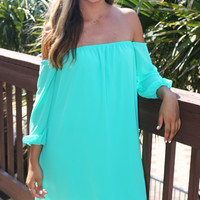 Resort Destination Off The Shoulder Mint Chiffon Dress