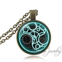 FREE SHIPPING Tardis necklace steampunk Time Machine pocket watch picture pendant Dr Who jewelry