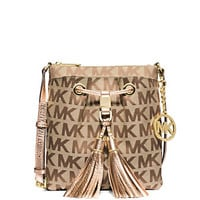 MICHAEL Michael Kors Signature Jacquard Camden Drawstring Cross-Body Bag | Dillard's Mobile