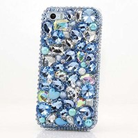 iPhone 6S Bling Case, iPhone 6 Case - LUXADDICTION [Premium Quality] 3D Handmade Crystallized Bling Case Easy Grip Crystals Diamond Sparkle AB Blue Stones Design Cover for iPhone 6 / 6S …