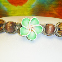 Natures Way Green Flower Hemp Anklet Bracelet womens handmade jewelry hippie