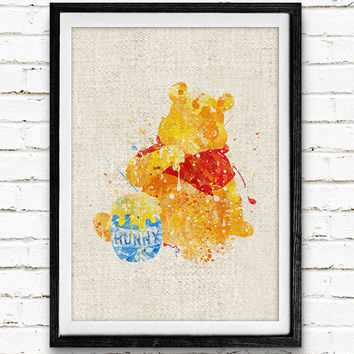 Winnie the Pooh Poster, Disney Watercolor Art Print, Baby Nursery Bedroom Wall Art, Kids Decor, Not Framed, Gift, Buy 2 Get 1 Free!