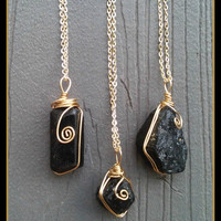 Black, Tourmaline, Boho, Grunge, Hippie, Crystal, Rock, Charm, Choker, Chain, Necklaces, necklace, layering, healing, positive, power,  wire