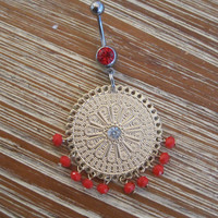 Belly Button Ring - Body Jewelry - Red Beaded Charm with Red Gem Belly Button Ring