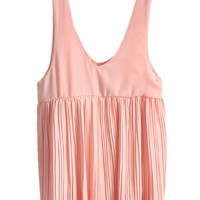 Pink Pleated V-neck Sleeveless Tank Shift Mini Dress