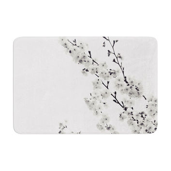 "Monika Strigel ""Cherry Sakura White"" Floral Nature Memory Foam Bath Mat"