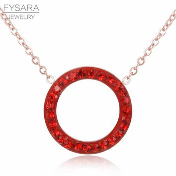 FYSARA Shiny Paved Tiny Red Crysrals Circle Round Necklaces & Pendants Silver/Rose Gold Color Love Clavicle Necklaces For Women