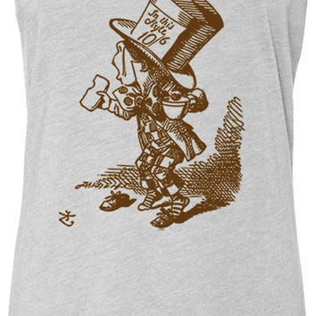 Alice in Wonderland - Mad Hatter Hastily (Brown) Tri-Blend Racerback Tank-Top