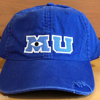 Disney Parks Monsters University M U Adult Blue Baseball Hat Cap NEW