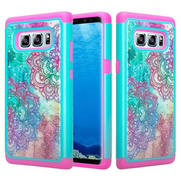 Samsung Galaxy Note 8 Case, Slim Hybrid Crystal Rhinestone Dual Layer [Shock Resistant] Protective Cover for Galaxy Note 8 - Teal Flower