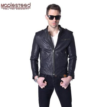 MAPLESTEED Vegetable Tanned Leather Men Leather Jacket 100% Genuine Sheepskin Black Yellow Slim Fit Male Leather Coat Autumn 007