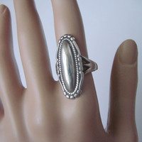 Beautifully Textured Sterling Hallmarked Dome Ring / Vintage Silver / SS / 6.5 Grams / Size 8 / Jewelry / Jewellery