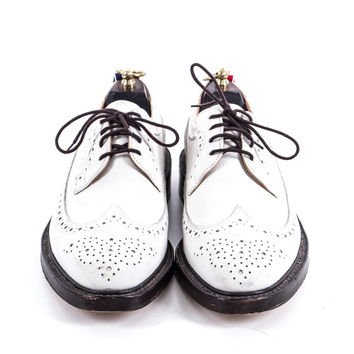 White leather wingtip shoes size:9.5