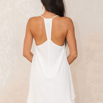White Halter V-neck Backless Chiffon A-line Pleated Mini Dress