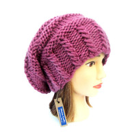 Old pink slouch hat chunky knit slouchy hat Irish knit accessory for women old pink gift for her warm old rose hat wool mothers day gift