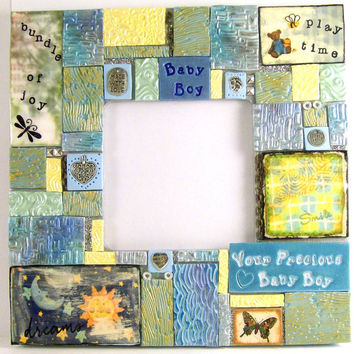 Mosaic Tile Frame, Baby Boy Frame, Home Decor, Art Frame, Handmade, Mosaic Art, Collage Mosaic