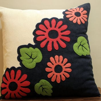 Felt Flower Decorated Pillow Cover