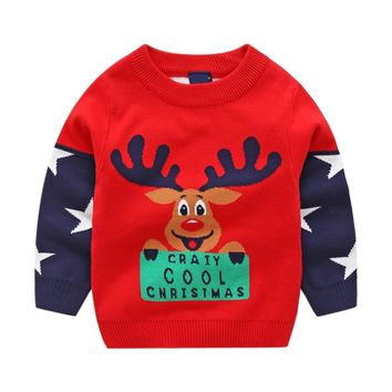 Kids Christmas  Sweater Children deersweaters WINTER Clothing Boys Girls Cotton Pullover toddler Baby Costumes knitted wear 2-8Y