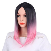 "18"" Ombre Pink Color Straight Hair Wig for Women"