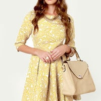 Sugar Maple Chartreuse Jacquard Dress