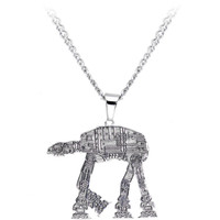 Licensed Steel Star Wars AT-AT Walker Pendant Necklace   Body Candy Body Jewelry