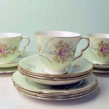 Vintage Gainsborough Bone China pattern 96 Made in England Floral Coffee/Tea Set. Circa 1950s