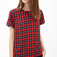 FOREVER 21 Tartan Plaid Top Red/Blue