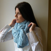 cable scarf baby blue knitted in merino blend wool by branda