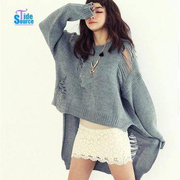 Sweaters 2016 Women Fashion O Neck Full Sleeve Asymmetrical Sweater Hollow Out Autumn Winter Very Loose Long Solid Women Sweater