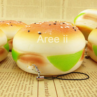 Jumbo Sesame Covered Hamburger Squishy Cellphone Charm Strap Soft Simulation Bread Key Chains