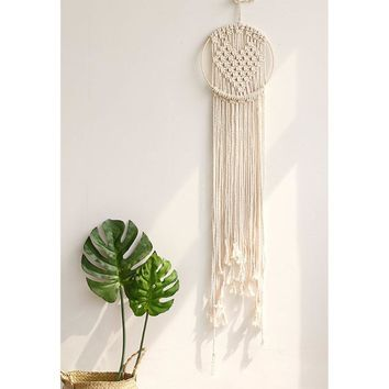 Hand-woven Heart Macrame Rope Tapestry Crafts Bohemia Style Wall Hanging