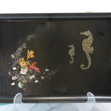 Couroc Seahorses Serving Tray Abalone Mother of Pearl Coral Seashells Marinescape