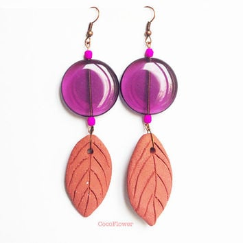 Clear purple disc leaf earrings / Spring Nature jewelry / Artisan ceramic earth Czech glass bead / Unusual Outfit