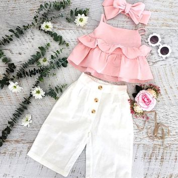 US Toddler Kid Baby Girl Ruffle Sling Tops Long Pants 3PCS Outfit Clothes Summer