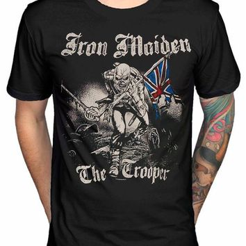 LMFLD1 Vintage Tee Shirts Very Cute Iron Maiden Sketched Trooper T Shirt Brave New World Fear Of The Dark Design T Shirt Fashion Tees