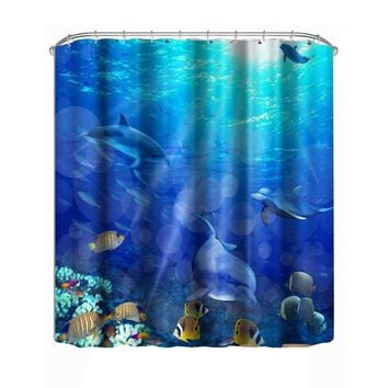 Brand NEW 3D Underwater World Dolphin Printed Pattern Shower Curtain 3D Printing Bathing Curtain