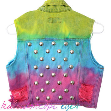 Vintage Ombre Dip dyed DESTROYED Blue Denim STUDDED Vest Jacket XS S