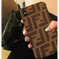 FENDI Fashionable Women Men Double F Letter Mobile Phone Cover Case For iphone 6 6s 6plus 6s-plus 7 7plus 8 8plus X XSMax XR Coffee