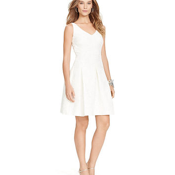 Lauren Ralph Lauren V-Neck Fit-and-Flare Dress | Dillards