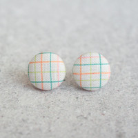 Summer Plaid, Fabric Covered Button Earrings