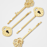Under Lock & Key Barrette Set | Skeleton Key Hair Clips | fredflare.com